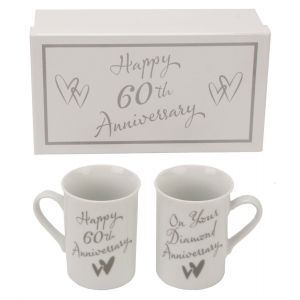 Beautifully Designed 60th Diamond Anniversary Mug Set with Matching Gift Box