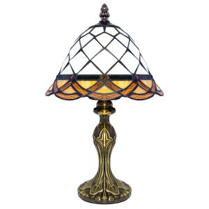 Traditional Amber and White Stained Glass Tiffany Table Lamp