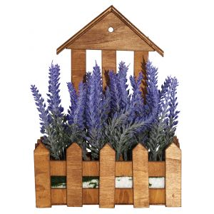 Artificial Purple Lavender in Charming Wooden Planter