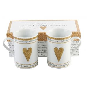 Beautifully Designed 50th Golden Anniversary Mug Set with Matching Gift Box