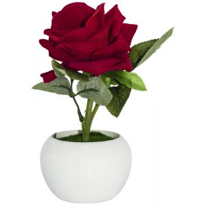 Beautiful Artificial Red Rose with Velvet Feel Petals in White Plastic Vase