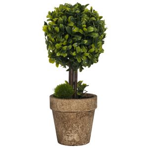 Small Artificial Round Shrub in Rustic Brown Clay Pot