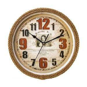 French Circular Clock With Rope Wrapping - Beige - Red