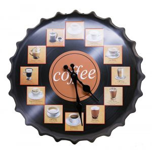 Coffee Pictures On Vinyl LP Record On Metal Wall Clock - Black