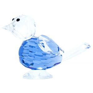 Transparent Crystal Glass Bird Ornament with Blue Body