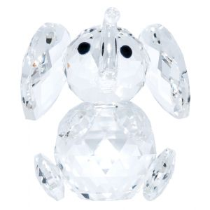 Transparent Crystal Elephant Ornament with Curved Trunk