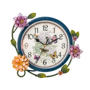 Contemporary French Circular Metal Clock With Flowers - Blue - Floral