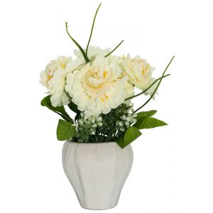 Pretty Artificial White Peonies and White Blossoms in White Ceramic Vase