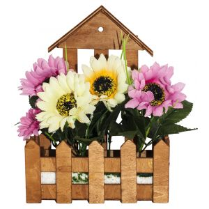 Artificial White and Pink Daisies in Charming Wooden Planter