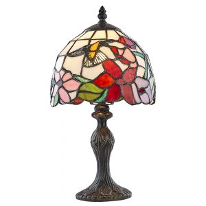 Humming Bird Tiffany Lamp with Multi-Coloured Glass Shade