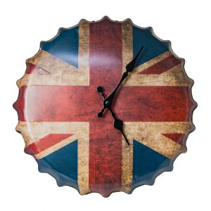 Union Jack GB Flag Bottle Cap Metal Wall Clock - Red - White - Blue