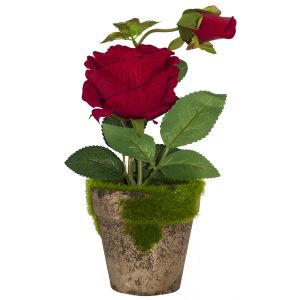 Gorgeous Artificial Red Rose in Rustic Brown Clay Pot