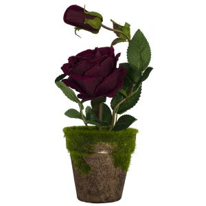 Gorgeous Artificial Dark Red Rose in Rustic Brown Clay Pot