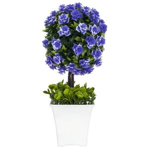Small Shrub with Vibrant Lilac Flowers in White Plastic Pot