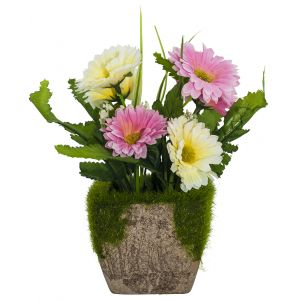 Charming Artificial White and Pink Daisies in Rustic Brown Clay Pot