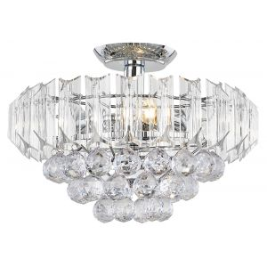 Modern Semi Flush Ceiling Light Fitting with Acrylic Spheres and Prisms