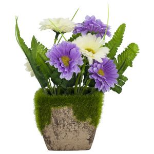 Charming Artificial White and Purple Daisies in Rustic Brown Clay Pot