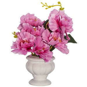 Pretty Artificial Pink Peonies in Traditional White Ceramic Vase