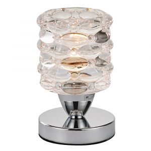 Touch Dimmable Chrome Lamp with Bubble Effect Glass Shade