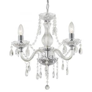 Traditional 3-Arm Chrome Chandelier with Clear Acrylic Decoration
