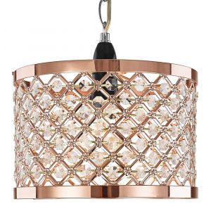Modern Polished Copper Ceiling Pendant Light Shade with Clear Beads
