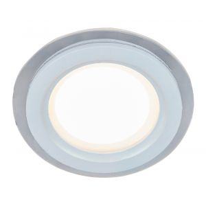 Designer White 10cm Round Ceiling Downlight with Transparent Outer Glass Ring