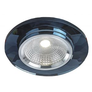 Contemporary Black Crystal Glass Round Downlighter with Chrome Reflector