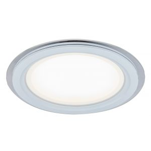 Designer White 20cm Round Ceiling Downlighter with Transparent Outer Glass Ring