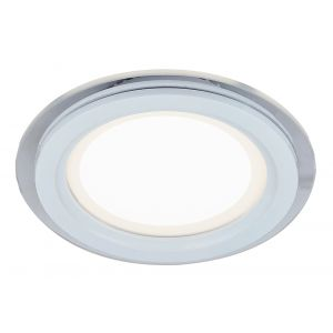 Designer White 16cm Round Ceiling Downlighter with Transparent Outer Glass Ring