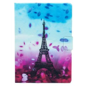 "iPad Pro 9.7"" (2016) Blue & Pink Eiffel Tower Illustrated Case - Blue / Pink"