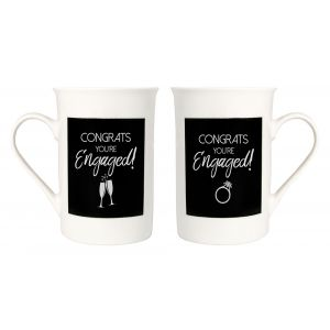 Contemporary Congrats You're Engaged with Champagne Flutes and Ring Mug Set