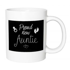 Cute and Thoughtful - Proud New Auntie Ceramic Mug with Footprints and Rattle