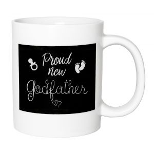 Cute and Thoughtful - Proud New Godfather Ceramic Mug with Footprints and Rattle