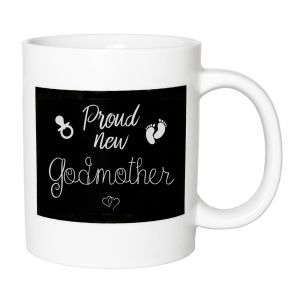 Cute and Thoughtful - Proud New Godmother Ceramic Mug with Footprints and Rattle