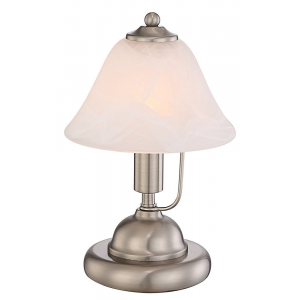 Traditional Satin Chrome and Alabaster Glass Touch Dimmable Lamp