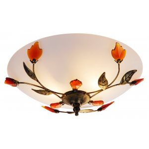 Traditionally Designed Frosted Glass Flush Ceiling Light with Amber Leaves